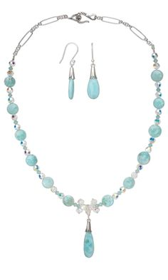 Single-Strand Necklace and Earring Set with Larimar Gemstone Beads and Swarovski Crystal Beads - Fire Mountain Gems and Beads