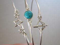 SAGITTARIUS set of 3 bangle bracelets - Star sign, Archer, Stars, Turquoise by Protego on Etsy https://www.etsy.com/listing/210769793/sagittarius-set-of-3-bangle-bracelets