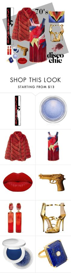 """70's DiscoDiva"" by ohnoflo on Polyvore featuring MAC Cosmetics, Helen Yarmak, Christopher Kane, Winky Lux, ZENTS, Oscar de la Renta, Giuseppe Zanotti, Estée Lauder, Madyha Farooqui and Elena Ghisellini"