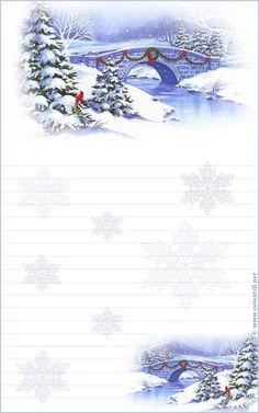 Papier à lettre à imprimer Scène Hiver Noël