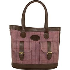 Dee Two British Tweed Heather Shopper With Pockets Bag Country Cognac The Country Cognac range of handbags and accessories combines the luxury of