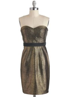 Gilded Glamour Dress - Black, Party, Strapless, Mid-length, Holiday Party, Sheath / Shift, Sweetheart, Gold, Tis the Season Sale