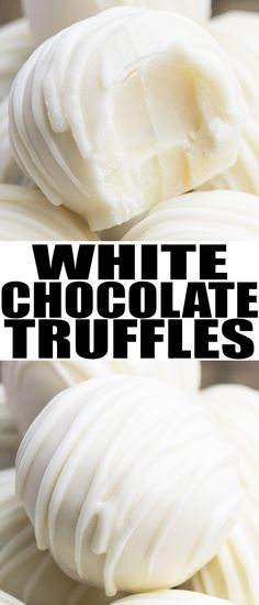 Easy WHITE CHOCOLATE TRUFFLES recipe, made with simple ingredients. These rich and creamy homemade truffles can be modified with many flavors and toppings. From cakewhiz.com #chocolate #dessert #truffles #recipes #christmas