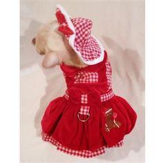 Gingerbread Girl Dog Harness Dress - 4 Piece Set