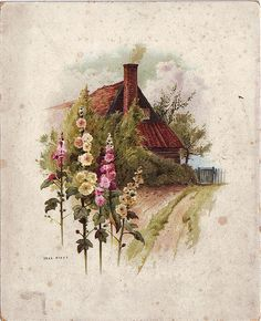 Clothe walls in a blooming vintage print that's both cultured and fashionable. Vintage Cards, Vintage Postcards, Vintage Images, Vintage Pictures, Watercolor Landscape, Watercolor Paintings, Landscape Art, Cottage Art, Cool Landscapes