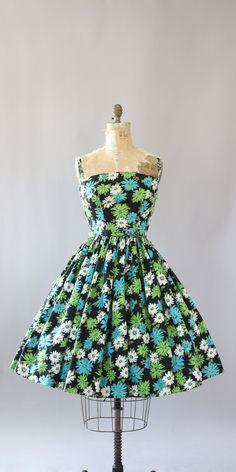 Vintage 50 s AMAZING turquoise, lime groen en wit floral afdrukken katoenen jurk…