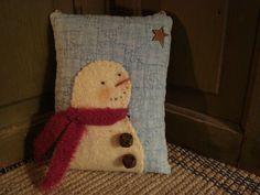 Snowman Door Pillow by Pat Price found on Etsy: kittyscatnip.