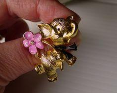 "Collectible Vintage Fashion Jewelry Brooch, Elephant Brooch Pink Enamel Flower Black Enamel Bow ""J.J."", Vintage Gold Tone Elephant Brooch - pinned by pin4etsy.com"