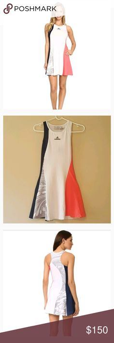 "Adidas - Stella McCartney Barricade Dress. Adidas - Stella McCartney Barricade Dress. Patterned and solid panels bring a unique look to this swingy adidas by Stella McCartney dress.  Dress is stretchy. Logo lettering below the neckline.  Racer back.  Sleeveless. Navy/White/Flash Red/Oyster Grey Women's Active Dress. Pants not included. Size: XS Length: 32"" Armpit to armpit: 13.5"" Waist: 12"" flat Hip: 17"" flat Measurements are appropriate  New with tag. Offers welcome. Adidas by Stella…"