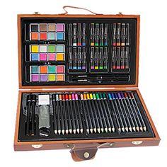 New Stylish 84pcs Children Painting Set Drawing Brush Elementary Water Color Pen Art Markers Wood Box Set #Affiliate
