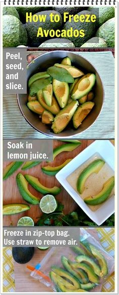 & Easy Avocado Ideas and How To Freeze Leftovers Find out how to freeze avocado slices -- it's the perfect way to save the summer's bounty for guacamole and other healthy recipes for any season. Freezer Cooking, Freezer Meals, Cooking Tips, Cooking Recipes, Freezer Storage, Food Storage, Cooking Pasta, Healthy Snacks, Healthy Eating