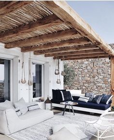 Lazy outdoor back porch, rustic beam and rock wall envy. Image via The post Lazy outdoor back porch, rustic beam and rock wall envy. Image via appeared first on BlinkBox. Villa Design, House Design, Patio Design, Home Interior Design, Exterior Design, Interior And Exterior, Room Interior, Outdoor Rooms, Outdoor Living