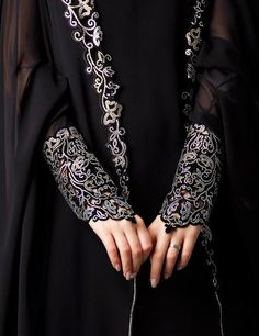 Abaya style gown embroidered cuffs
