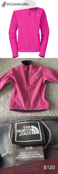 Pink Softshell North Face Jacket Size medium jacket in perfect condition with no flaws. The jacket is pink on the outside and grey on the inside. Thick material and is great for winter time or a rainy day😊 The North Face Jackets & Coats