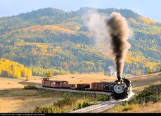 High quality photograph of Cumbres & Toltec Scenic Railroad Steam # CTS at Between Chama and Cumbres, New Mexico, USA. New Mexico Style, New Mexico Usa, Scenic Train Rides, Railroad Photography, Train Engines, Old Trains, Land Of Enchantment, Steam Locomotive, Colorado