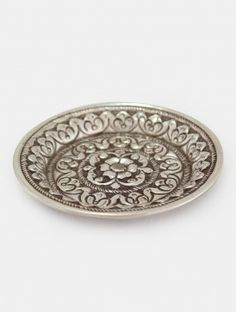 Floral Sterling Silver Plate - Small Silver Pooja Items, Silver Plate, Cool Designs, Artisan, Articles, Brass, Plates, Sterling Silver, Floral