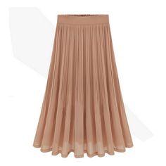 Solid Color Pleats Elastic Waist Graceful Chiffon Long Skirt
