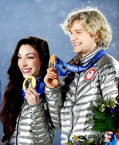 Meryl  Charlie with their Olympic Gold Medal - February 18, 2014