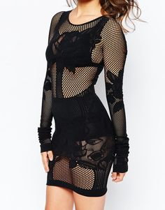 Image 3 of French Connection Chalice Lace Bodystocking Dress