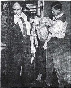 """This picture ran in the Las Vegas Sun newspaper on January 10, 1966, and is entitled """"Killer Collapses."""" It shows Richard Eugene Hickock moments after confessing to the vicious murder of the Herbert Clutter family at their farm house in Holcomb, Kansas., flanked by Kansas Bureau of Investigation agents Clarence Duntz and B. J. Handlon."""