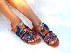 Blue Sea Friendships  Boho Sandals summer shoes  Handmade