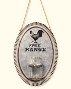 New Primitive Farmhouse Chic FREE RANGE ROOSTER Farm Wall Hanging Sign Jar Vase #Unbranded