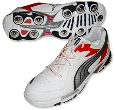 Puma Stealth Full Spikes Cricket Shoes, White/Silver/Puma Red
