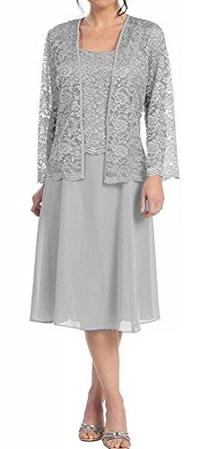 Short Silver Mother of Groom Dress Chiffon Knee Length Lace Jacket – DiscountDressShop Mother Of Groom Dresses, Mothers Dresses, Mother Of The Bride, Bride Dresses, Lace Jacket, Jacket Dress, Bolero Jacket, Dress Jackets, Modelos Plus Size
