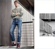 Wearing the latest from H&M, Tim Schuhmacher sports a slim-fit jeans with a sweater and sneakers.