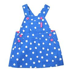 Toby Tiger Blue Dot Cord Pinafore Dress, Choose Size