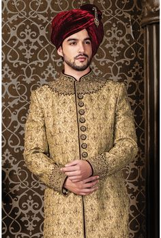 Wedding Sherwani, Jodhpuri Sherwani, Sherwani, Sherwani for Men, Western Sherwani. The attire gives a strong ethnic edge to men and has proved itself as one of the classic Indian attire not only in India but also globally. Blue Sherwani, Mens Sherwani, Wedding Sherwani, Indian Groom Wear, Indian Attire, Groom Style, Wedding Wear, Wedding Designs, Yellow