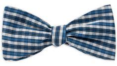 Querbinder kariert blau – Zena Millan – handcrafted bow ties