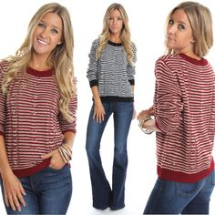 Getting into the holiday spirit in these new arrivals! ☃ Stripe Knit Sweater Burgundy/ Black ($24.99) #sophieandtrey High Waisted Flare Jeans ($49.99) #sophieandtrey Shop in stores today from 12-5p and online with FREE shipping on all orders! #newarrival #sweater #stripes #flarejeans #denim #holiday #fashion
