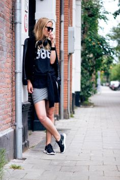 Mango jacket, Victoria's Secret tee, Alexander Wang skirt, Nike Free 5.0 shoes, Lounge Lover sweater,Karen Walker sunglasses, Aiaiai headphones.