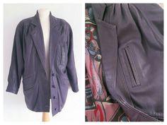Vintage Oversized Purple Leather Jacket - 80s Leather Purple Coat