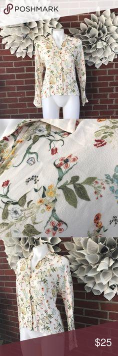 ZARA LS Button Down Floral high low Blouse zara ls button down floral high low blouse Zara Tops Button Down Shirts