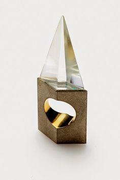 Philip Sajet, Netherlands Ring, 1986 (Rock crystal, silver, gold) - Lesley Craze Gallery