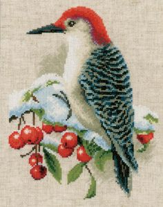 Red Woodpecker from Vervaco counted cross stitch kit. Cat Cross Stitches, Cross Stitch Needles, Cross Stitch Bird, Cross Stitch Samplers, Cross Stitch Animals, Counted Cross Stitch Kits, Cross Stitch Flowers, Cross Stitch Charts, Cross Stitch Embroidery