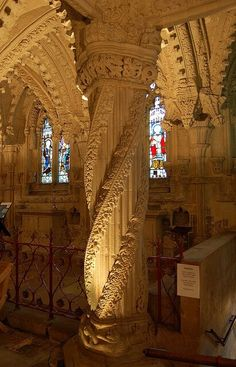 The Apprentice Pillar inside Rosslyn Chapel, Scotland