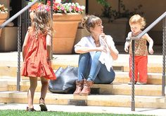 'Machete Kills' actress Jessica Alba and her family spotted out for lunch at Bouchon in Beverly Hills, California on June 15, 2013
