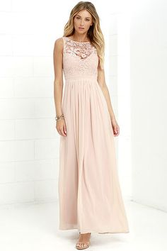 Go one step beyond the dress of your dreams and you'll find the So Far Gown Blush Lace Maxi Dress! A lovely crocheted lace yoke forms a sweetheart silhouette atop a lightly padded bodice with darted detail. Dreamy chiffon takes over at the banded waist to fall into a showstopping maxi skirt. Three hook clasps join above the open back. Hidden back zipper with clasp.