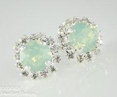 Green earrings Mint Green Crystal Stud by EndoraJewellery on Etsy, $30.00