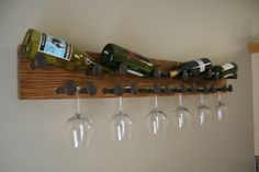 Rustic Wine Rack Red Oak Railroad Spike 4 Four Bottles 6 Six Glasses