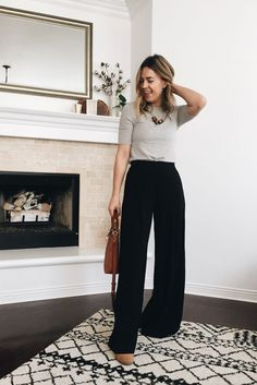 Wide Leg Trousers – Thoughts By Natalie Wide Pants Outfit, Summer Pants Outfits, Stylish Summer Outfits, Trouser Outfits, Casual Work Outfits, Business Casual Outfits, Smart Casual Work Outfit Women, Fall Work Outfits, Summer Work Outfits