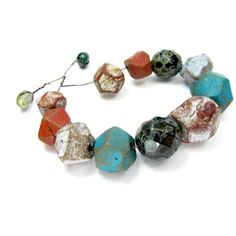 Bargain Bundle - Faceted Round Bead Mix - Ceramic Clay Beads Rustic Strand No. 166 | Ragged Robyn