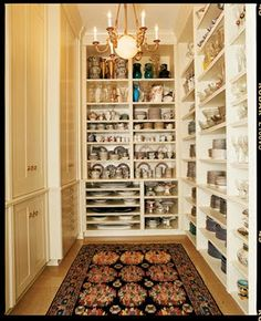 Alexandra Baer's china closet  Perfection - narrow shelves makes everything visible and accessible!!