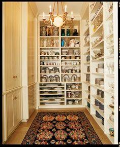 Alexandra Baer's china closet  Perfection - narrow shelves makes everything visible and accessible!!
