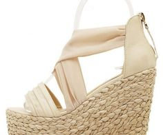 These casual wedges feature satin material, open toe design, stylish crossover strap, ruched detail, back zipper closure. spenditonthis.com