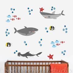 Sharks Wall Decal  Reusable Fabric Shark by ToodlesDecalStudio