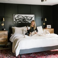 Cozy Fall Bedroom Ideas with SundayCitizen linens Cozy aesthetic, fall bedroom, black bedroom, boho bedroom, bedroom inspo, persian rug, abstract art, cozy bedroom, bedroom decor, bedroom style